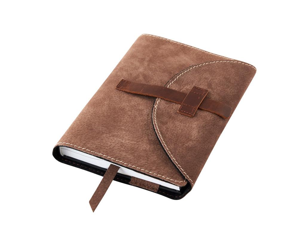 Obal na knihu kožený se sponou Hnědý
