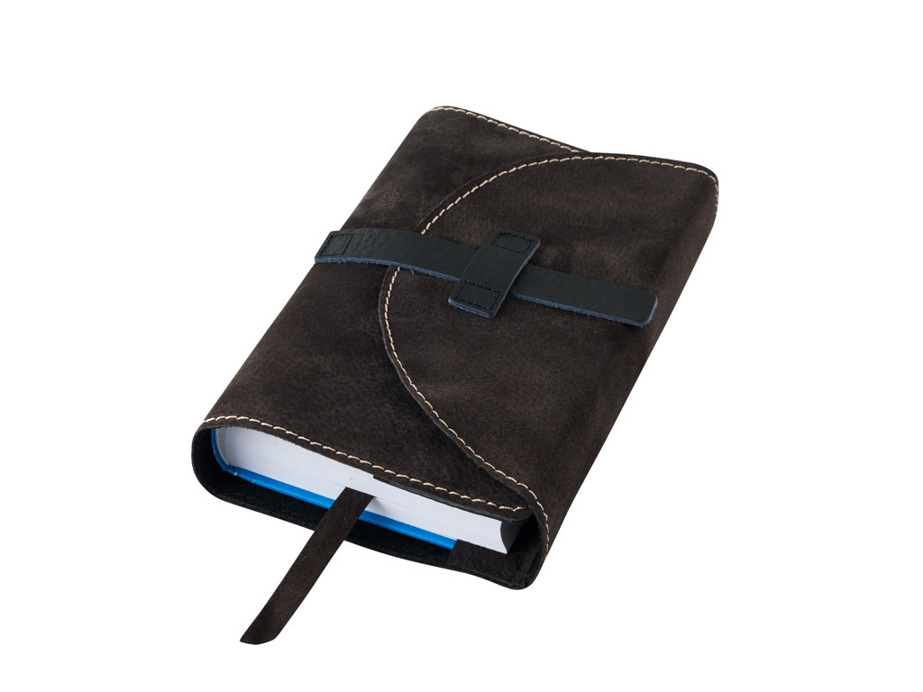 Obal na knihu kožený se sponou Hnědý tmavý