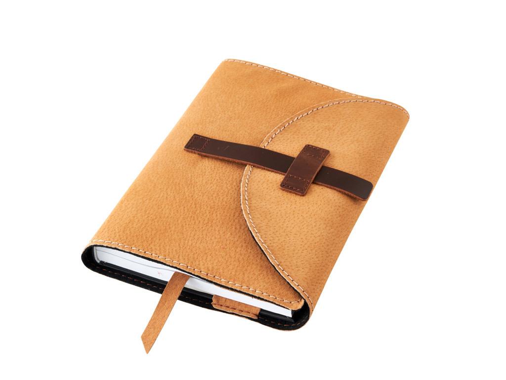 Obal na knihu kožený se sponou Medový