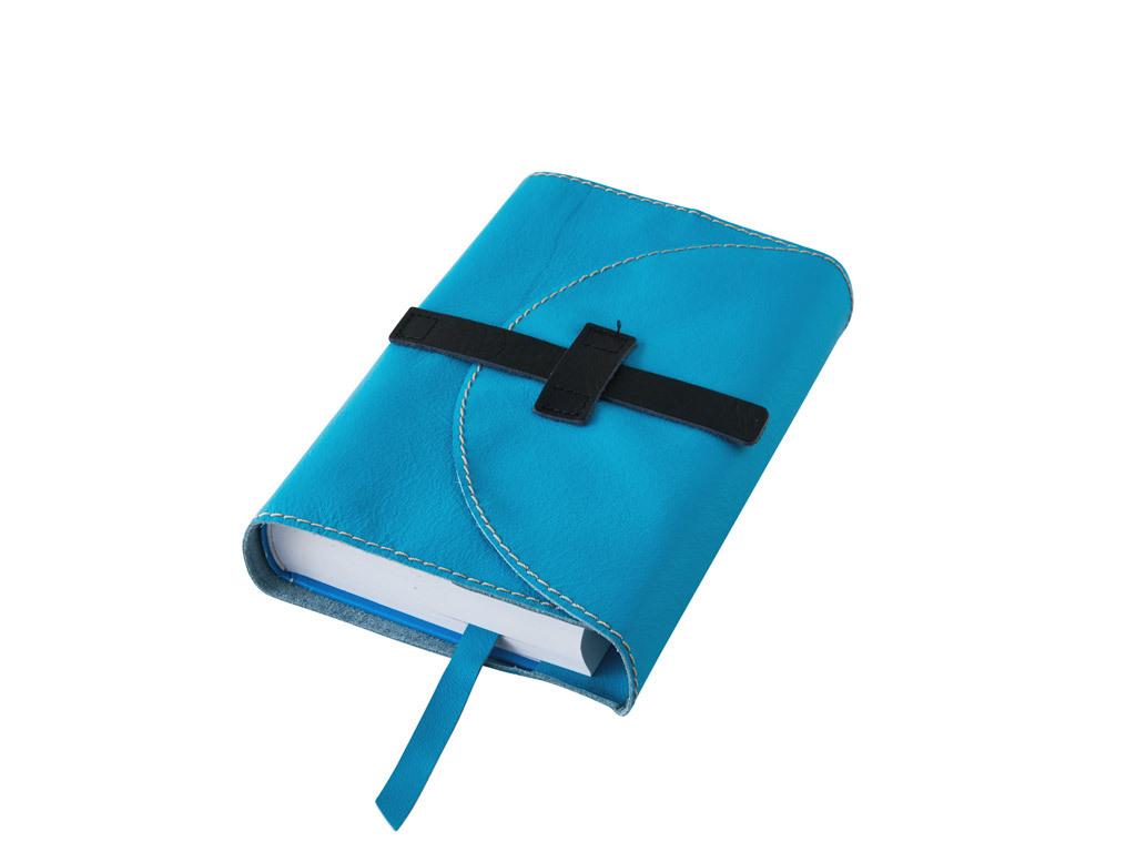 Obal na knihu kožený se sponou Modrý