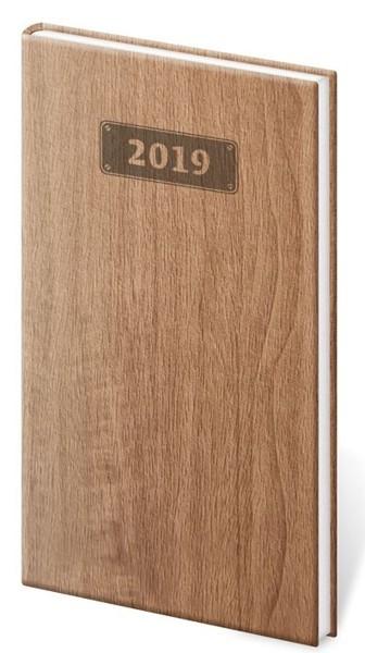 Diář kapesní Wood sv. hnědý
