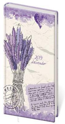 Diář 2019 A6 LYRA týdenní s gumičkou Lavender