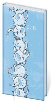 Diář 2019 A6 LYRA týdenní s gumičkou Elephants
