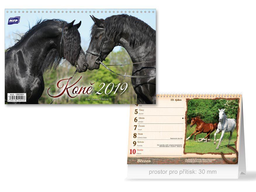 Koně - stolní kalendář 2019