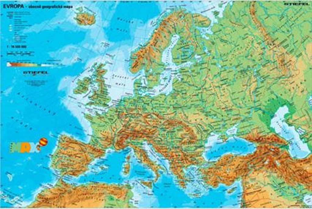 Evropa Fyzicka Politicka Mapa A3 Knihcentrum Cz