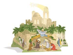 Obrázok Betlém starobylý, skládanka z kartonu BS-05