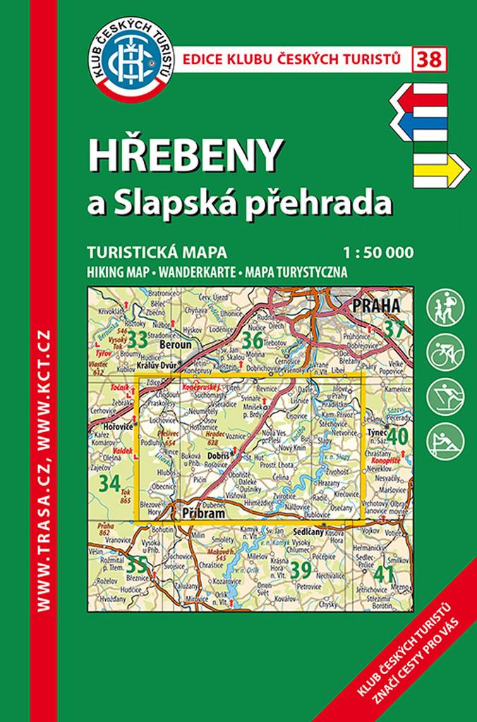 KČT 38 Hřebeny a Slapská přehrada 1:50 000