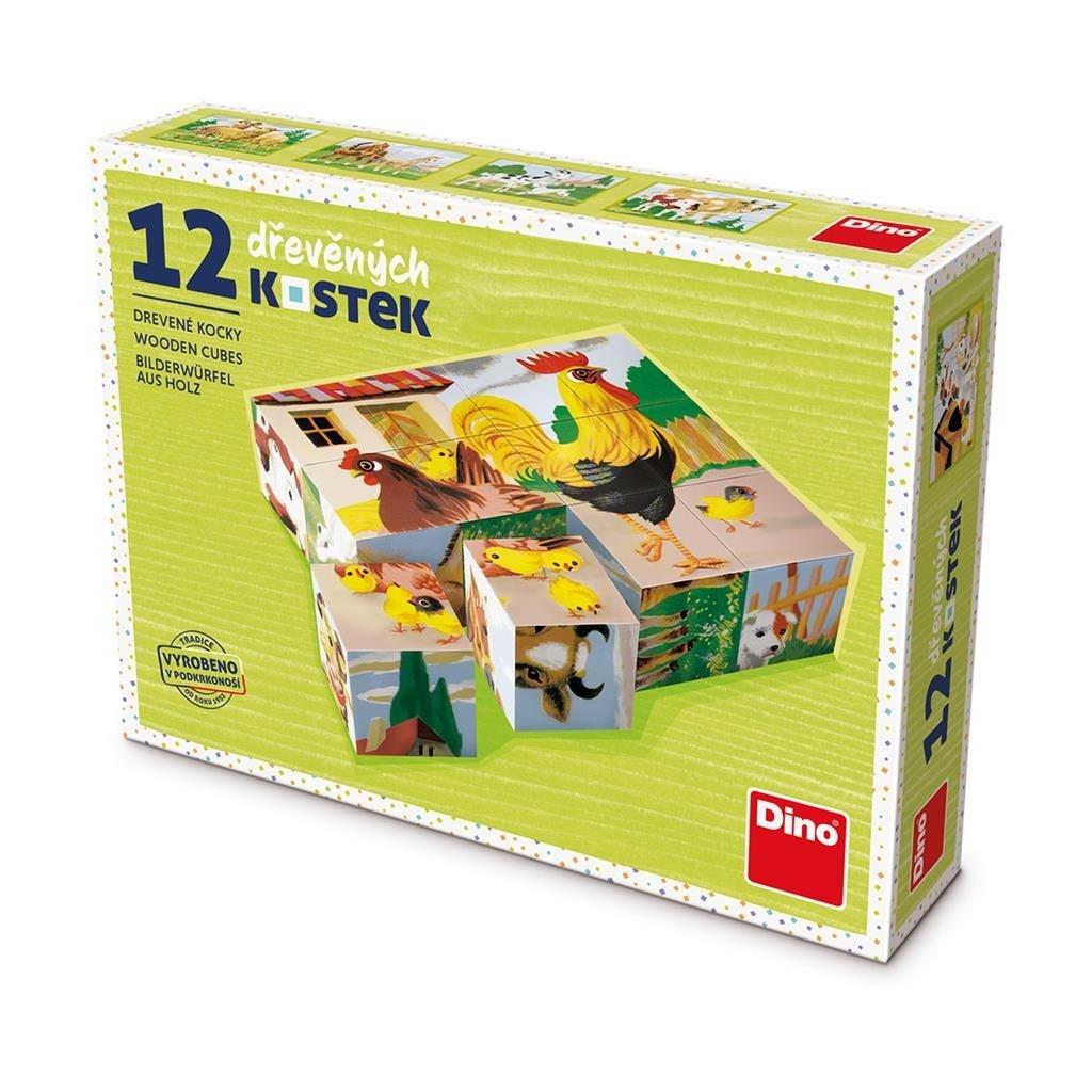 Dřevěné kostky 12K Domácí zvířátka