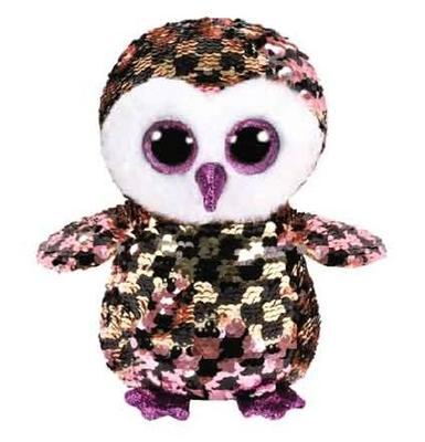 Obrázok Beanie Boos Flippables Checks s flitry černo/ružovo/zlatá sova 15 cm