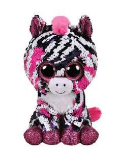 Obrázok Beanie Boos Flippables Zoey s flitry ružová zebra 15 cm
