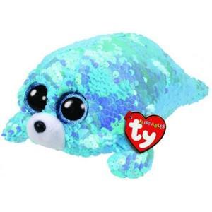 Obrázok Beanie Boos Flippables Waves s flitry modrý tuleň 15 cm