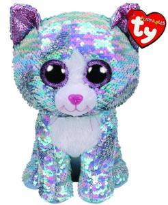 Obrázok Beanie Boos Flippables Whimsy s flitry modrá kočka 42 cm