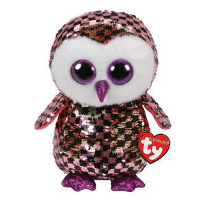 Obrázok Beanie Boos Flippables Checks ružovo-černá sova 24 cm