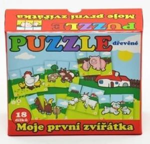 Obrázok Puzzle Moje první zvířátka dřevěné 18 dílků pro nejmenší v krabičce