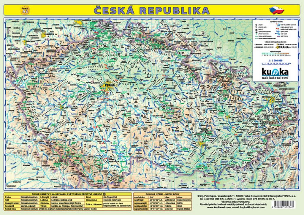 Česká republika Mapa A3 lamino - Petr Kupka