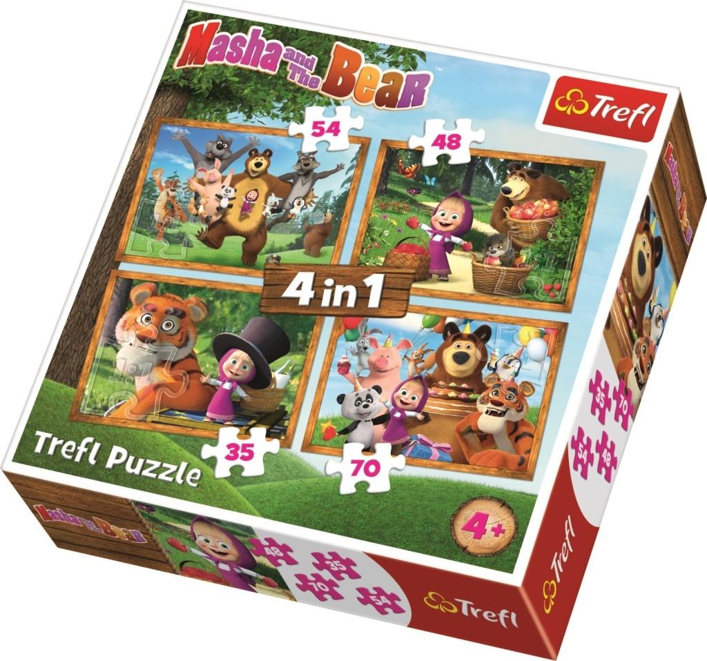 Puzzle Máša a medvěd 4v1