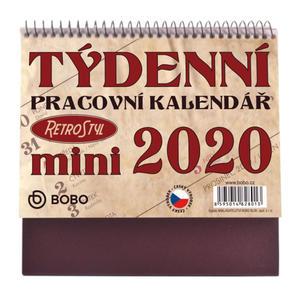Obrázok Pracovní Retro Mini kalendář týdenní - stolní kalendář 2020