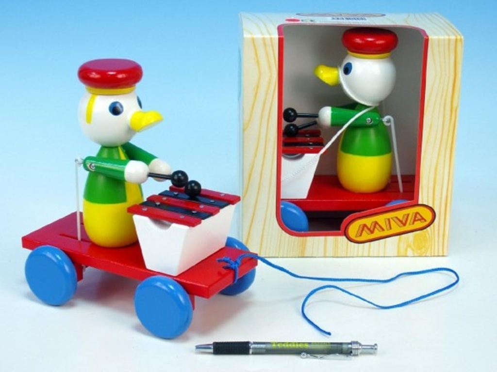 Kačer s xylofonem tahací barevný v krabičce