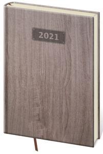 Diář 2021 denní  A5 Wood - tmavě hnědá