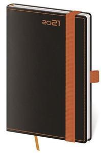 Obrázok Diář 2021 týdenní kapesní Black Orange s poutkem na propisku