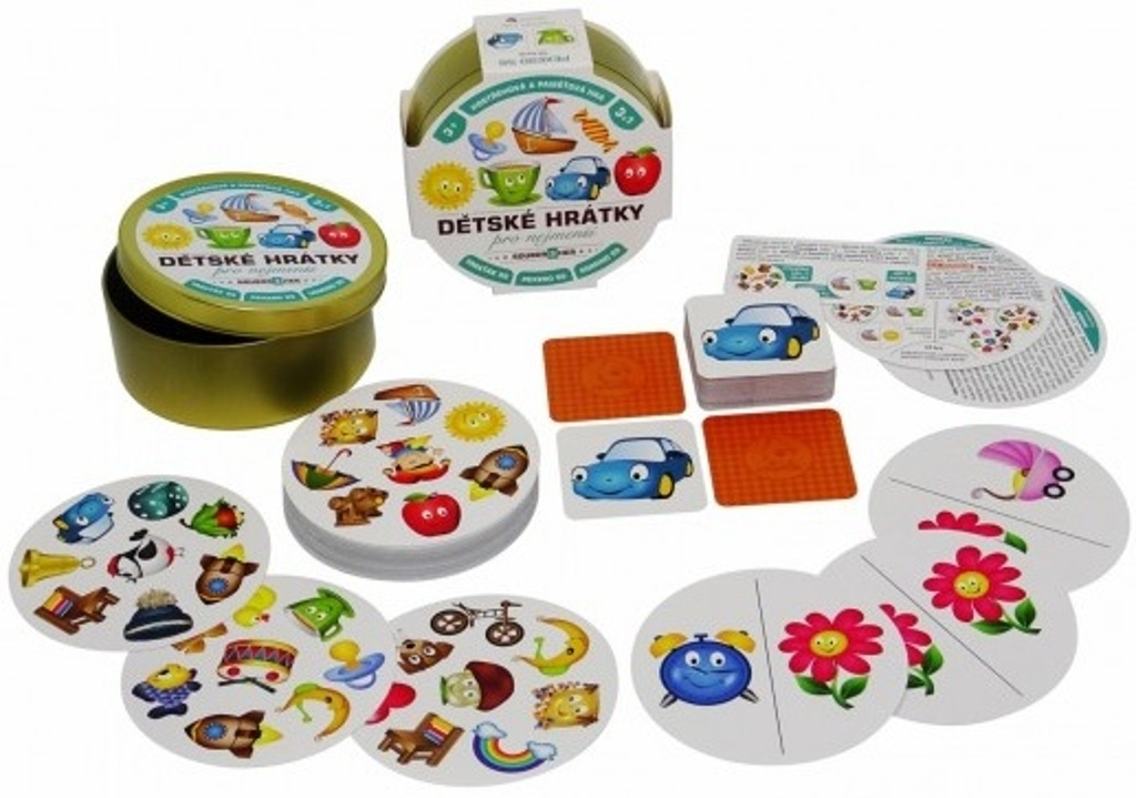 Dětské hrátky pro nejmenší 3v1v plechové krabičce