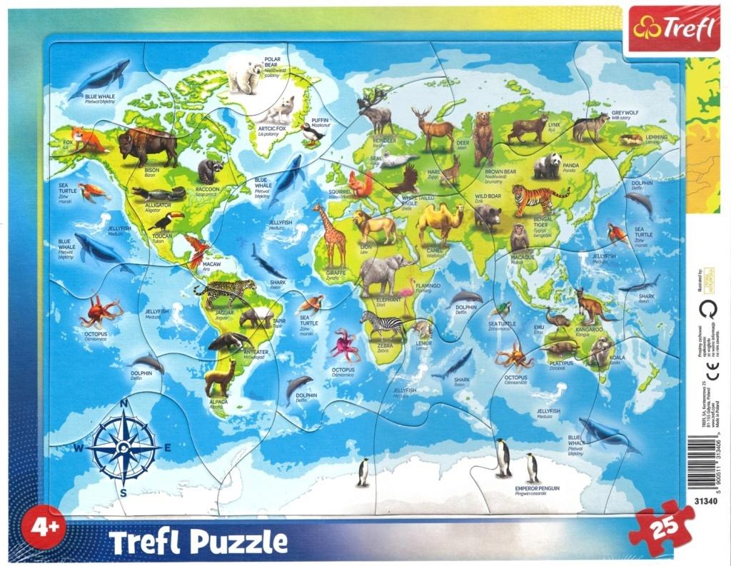 Puzzle Mapa světa se zvířátky