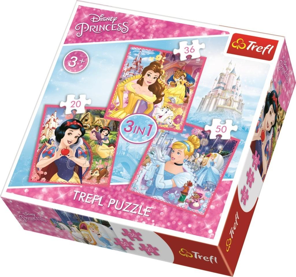 Puzzle Disney princezny Kouzelný svět 3v1