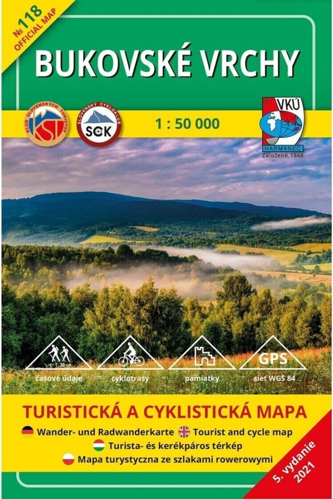 TM 118 Bukovské vrchy 1: 50 000