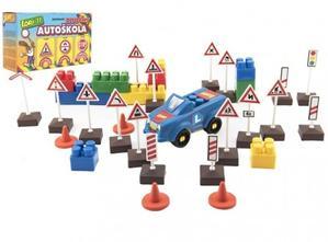Obrázok Stavebnice LORI 11 Autoškola Dopravní značky 16ks+2 kužely+auto plast v krabici