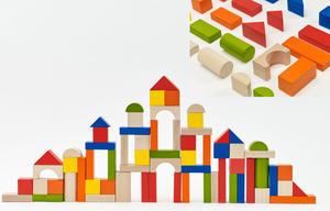 Obrázok Kostky stavebnice dřevo 100ks + vkládačka v papírovém kbelíku