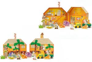 Obrázok Safari/ZOO figurky dřevo + domeček 16ks ve fólii